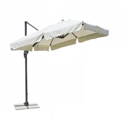Ombrellone da giardino a palo laterale 3x3 m con stecche in alluminio e palo in acciaio. Tessuto poliestere 220gr. colore Ecru con falda 25 cm . Apertura a carrucola, palo girevole 360 gradi inclinabile 6 posizioni.