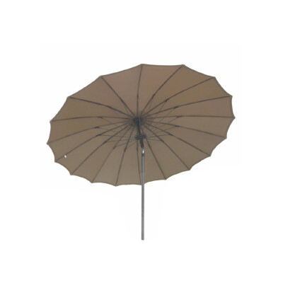 Ombrellone da giardino a palo centrale diametro 270 cm , 18 stecche in fibradivetro e palo in acciaio 48 mm. Tessuto poliestere 220gr. colore tortora.