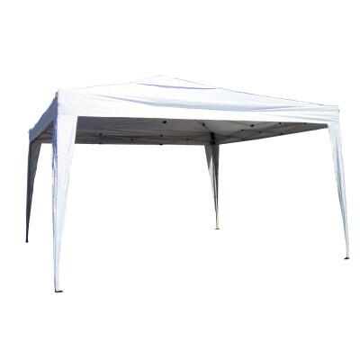 Gazebo ripiegabile 3,6 x 3,6 X H 2,60 m.Tessuto in poliestere gr 150 spalmato argento. Colore Bianco. Fornito con borsa con Ruote.