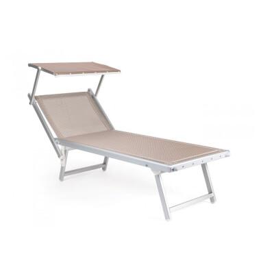 Lettino in alluminio anodizzato con tetto, 3 posizioni senza staffe. 185x73x109. - H40 Tessuto textilene colore ECRU. 100% made in Italy