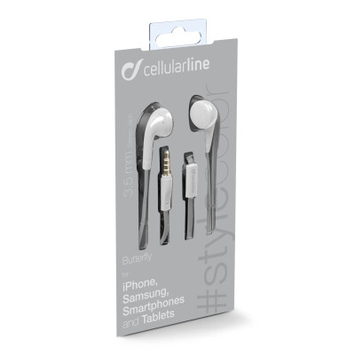Cellularline Auricolari a filo super colorati Universale Jack 3.5 mm Bianco