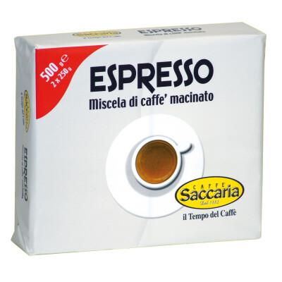 CAFFE' SACCARIA MISCELA DI CAFFE' MACINATO PER ESPRESSO 2 CONFEZIONI DA 250 GR
