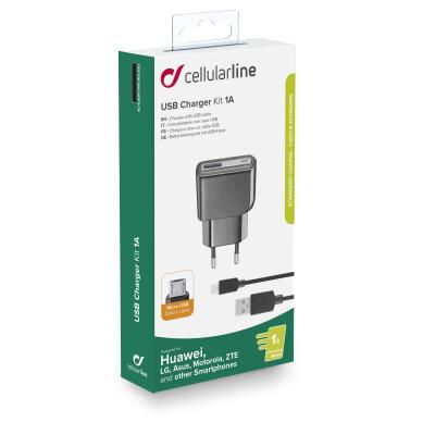 Cellularline Caricabatterie da rete 1A con cavo Micro USB per Huawei e altri