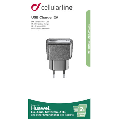 Cellularline Caricabatteria FAST CHARRGE da rete USB Nero 2000 mAh