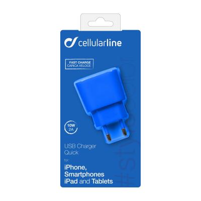Cellularline Caricabatterie da rete veloce USB 2000 mAh Blu