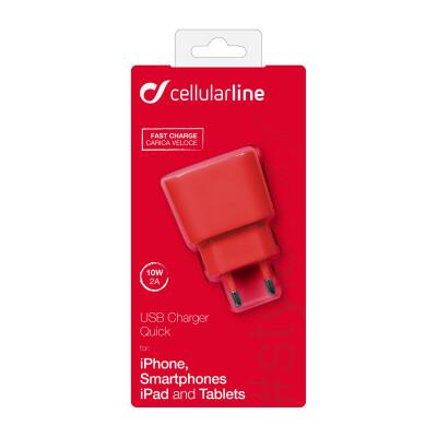 Cellularline Caricabatterie da rete veloce USB 2000 mAh Rosa