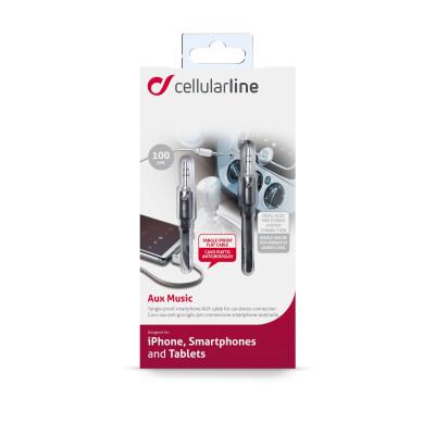 Cellularline Aux Music - Universale Cavo Aux antigroviglio jack 3.5 mm Nero
