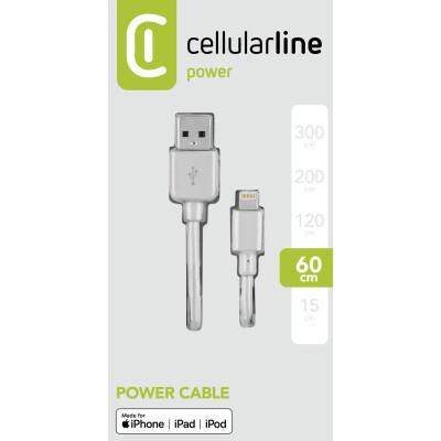 Cellularline Cavo 60 cm da USB a Lightning per la ricarica e sincronizzazione dati Bianco