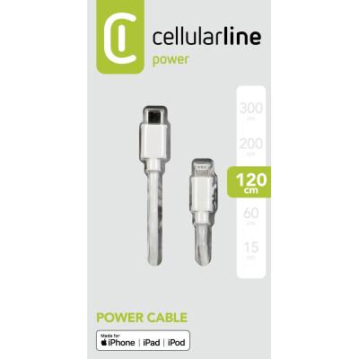Cellularline Cavo 120 cm da USB-C a Lightning per la ricarica e sincronizzazione dati Bianco