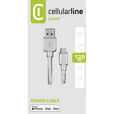 Cellularline Cavo 120 cm da USB a Lightning per la ricarica e sincronizzazione dati Bianco