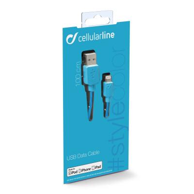 Cellularline Cavo100 cm USB-Lightning per la ricarica e sincronizzazione dei dati Blu