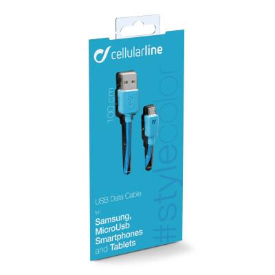 Cellularline Cavo 100 cm da USB a Micro USB per la ricarica e sincronizzazione dei dati Blu