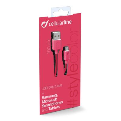Cellularline Cavo 100 cm da USB a Micro USB per la ricarica e sincronizzazione dei dati Rosa