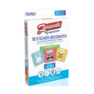 ZANZARELLA 18 STICKER DECORATIVI CON INGREDIENTI NATURALI REPELLENTE