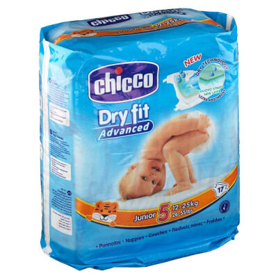 CHICCO PANNOLINI DRY FIT ADVENTUR 5 JUNIOR 12-25 Kg 17 pz
