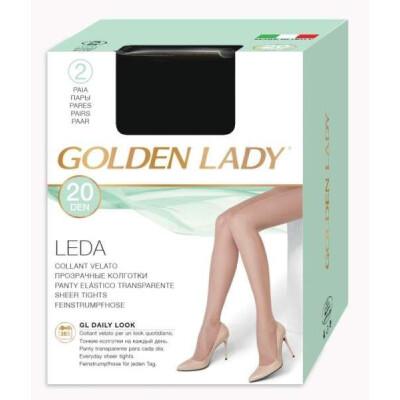 GOLDEN LADY COLLANT LEDA 20 DENARI TAGLIA 2 COLORE VISONE 2 PAIA