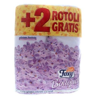 FOXY BOUQUET CARTA IGIENICA 4+2 ROTOLI 2 VELI COLORATA E PROFUMATA
