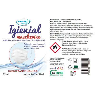 IGIENIAL IGIENIZZANTE SPRAY PER MASCHERINE 55 ML
