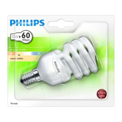 PHILIPS TORNADO LAMPADA A RISPARMIO ENERGETIVO A SPIRALE 12W E14 LUCE CALDA