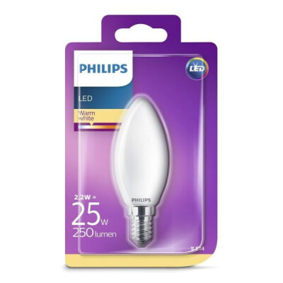 PHILIPS LAMPADINA LED OLIVA IN VETRO 25W E14 LUCE CALDA (2700K) NON DIMMERABILE