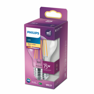 Philips lampadina LED goccia filamento 75W E27 2700K non dim
