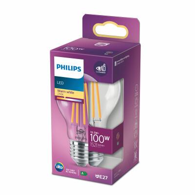 Philips lampadina LED goccia filamento 100W E27 2700K non dim