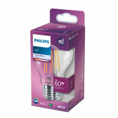 Philips lampadina LED goccia filamento 60W E27 4000K non dim