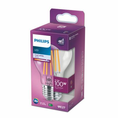 Philips lampadina LED goccia filamento 100W E27 4000K non dim