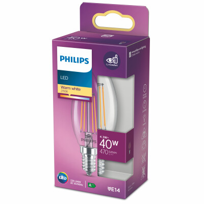 Philips lampadina LED candela filamento 40W E14 2700K non dim
