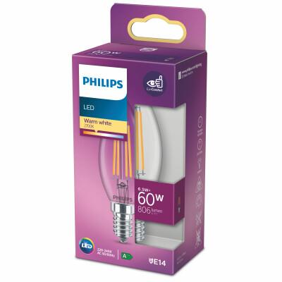 Philips lampadina LED candela filamento 60W E14 2700K non dim