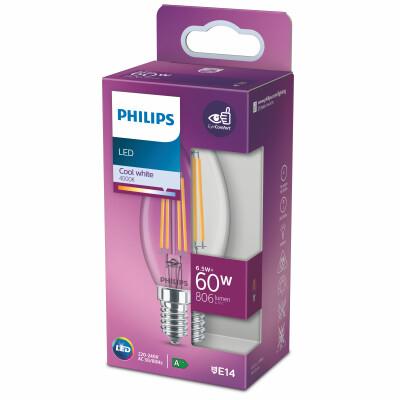 Philips lampadina LED oliva filamento 60W E14 4000K non dim