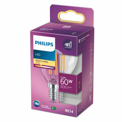 Philips lampadina LED sfera filamento 60W E14 2700K non dim