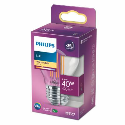 Philips lampadina LED sfera filamento 40W E27 2700K non dim