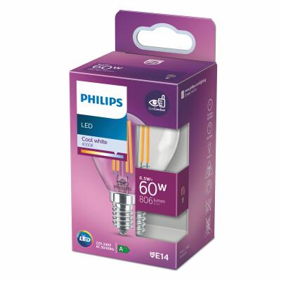 Philips lampadina LED sfera filamento 60W E14 4000K non dim