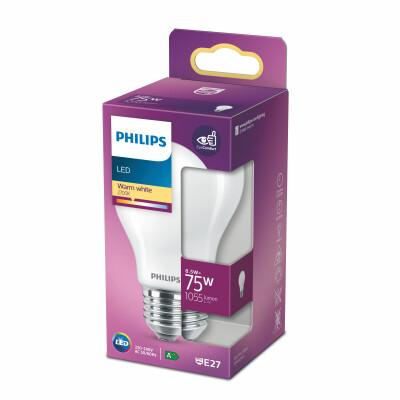 Philips lampadina LED goccia vetro 75W E27 2700K non dim