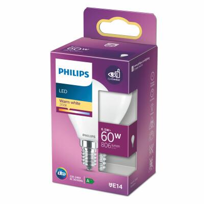 Philips lampadina LED sfera vetro 60W E14 2700K non dim