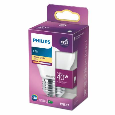 Philips lampadina LED sfera vetro 40W E27 2700K non dim