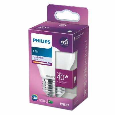 Philips lampadina LED sferica vetro 40W E27 4000K non dim