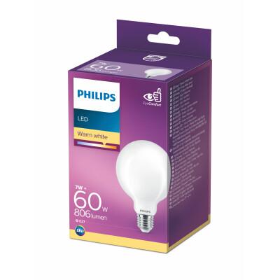 Philips lampadina LED globo vetro 60W E27 2700K non dim