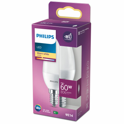 Philips lampadina LED candela 60W E14 2700K non dim