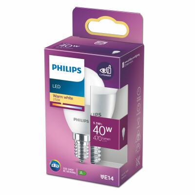 Philips lampadina LED sfera 40W E14 2700K non dim