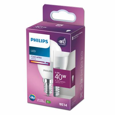 Philips lampadina LED sfera 40W E14 4000K non dim