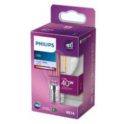 Philips lampadina LED sferica filamento 40WE14 4000K non dim