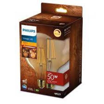 Philips lampadina LED globo filamento gold 50W E27 2700K non dim
