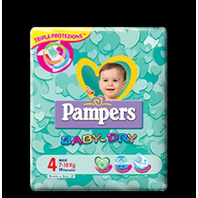 PAMPERS PANNOLINI BABY DRY 4 MAXI 7-18 KG 19 PZ.