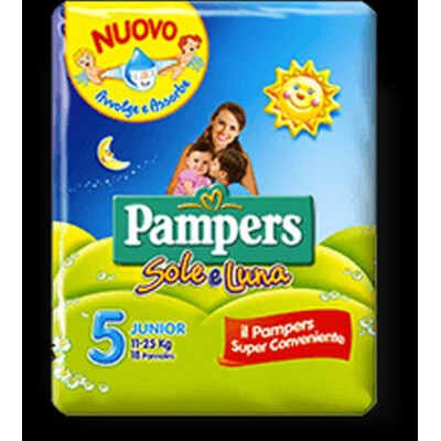 PAMPERS PANNOLINI SOLE E LUNA 5 JUNIOR 11-25 KG 16 PZ.