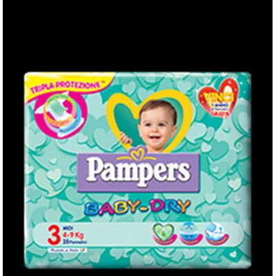 PAMPERS PANNOLINI BABY DRY 3 MIDI 4-9 KG 20 PZ