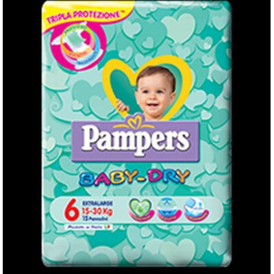 PAMPERS PANNOLINI BABY DRY 6 XL 15-30 KG 15 PZ