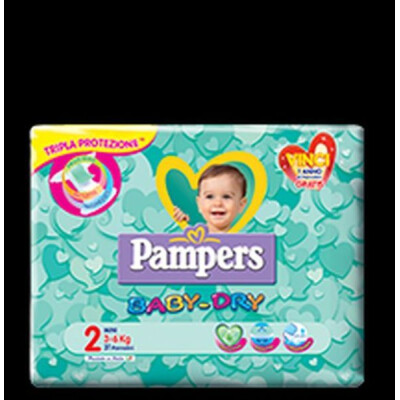 PAMPERS PANNOLINI BABY DRY 2 MINI 3-6 KG 24 PZ