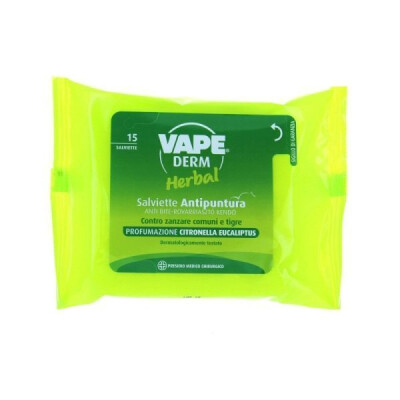VAPE DERM HERBAL 15 SALVIETTE ANTIPUNTURA